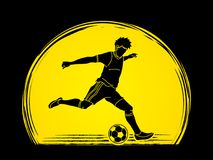 Soccer player running and kicking a ball action graphic vector. Soccer player running and kicking a ball action illustration graphic vector Stock Photography