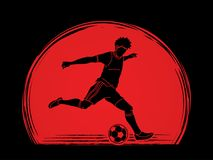 Soccer player running and kicking a ball action graphic vector. Soccer player running and kicking a ball action illustration graphic vector Royalty Free Stock Images
