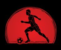 Soccer player running with soccer ball action graphic vector. Soccer player running with soccer ball action  illustration graphic vector Stock Photography