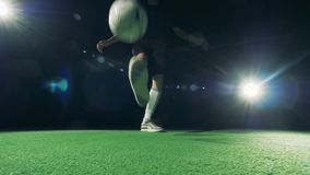 Soccer player`s feet dribbling a ball. World football cup 2018 concept.