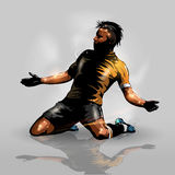 Soccer player scoring goal. Abstract silhouette soccer player celebrating scoring goal Royalty Free Stock Photography