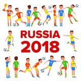 Soccer Player Set Vector. 2018 FIFA World Cup. Russia Event. Football Players Poses. Soccer Ball. Championship Russia. 2018. Design Element. Isolated Cartoon Royalty Free Stock Photos