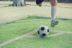 The soccer player shoot ball at corner royalty free stock image