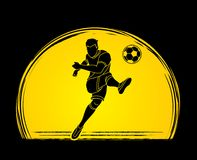 Soccer player shooting a ball action graphic vector. Soccer player shooting a ball action illustration graphic vector Stock Photos
