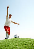 Soccer player shouting Stock Photography