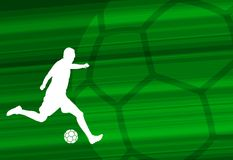 Soccer player silhouette on the abstract background. Vector Stock Images