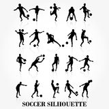 Soccer player silhouette collection Royalty Free Stock Photos
