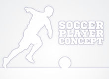 Soccer Player Silhouette Concept. A stylised illustration of a soccer football player in silhouette charging with the ball Royalty Free Stock Images