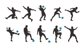 Soccer player silhouette set. Illustration of dark color soccer player set in different poses with blue ball isolated on white background Stock Image