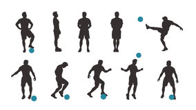 Soccer player silhouette set. Illustration of dark color soccer player set in different poses with blue ball isolated on white background Royalty Free Stock Photos