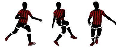 Soccer player silhouette. Three classic soccer player poses in red strip jersey Royalty Free Stock Photo