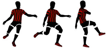 Soccer player silhouette. Three classic soccer player poses in red strip jersey Royalty Free Stock Images