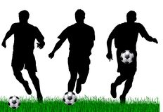 Soccer player silhouettes stock illustration