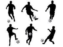 Soccer player silhouettes. Illustration of six people playing soccer, seen in silhouette on white background Stock Photos