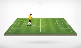 Soccer player and soccer football ball in area of soccer field. Soccer player and soccer football ball in area of soccer field with white background. Abstract Royalty Free Stock Images