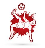 Soccer player somersault kick , overhead kick graphic vector. Royalty Free Stock Photo