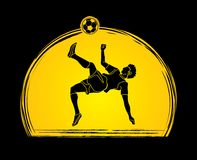 Soccer player somersault kick , overhead kick action graphic vector. Stock Images