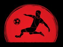 Soccer player somersault kick , overhead kick action. Illustration graphic vector Royalty Free Illustration