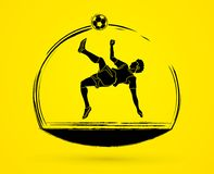 Soccer player somersault kick , overhead kick graphic vector. Royalty Free Stock Image