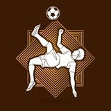 Soccer player somersault kick , overhead kick graphic vector. Royalty Free Stock Images