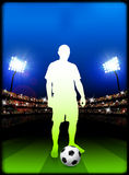 Soccer Player on Stadium Background Stock Images