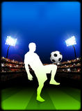 Soccer Player on Stadium Background Royalty Free Stock Photography
