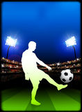 Soccer Player on Stadium Background Stock Photo