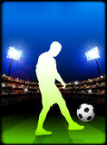 Soccer Player on Stadium Background Stock Image