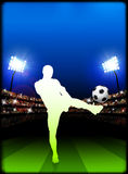 Soccer Player on Stadium Background Royalty Free Stock Image