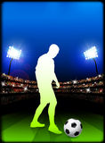 Soccer Player on Stadium Background Royalty Free Stock Images
