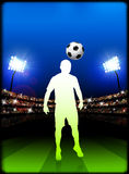 Soccer Player on Stadium Background Stock Photos