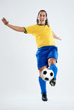 Soccer player strike Royalty Free Stock Images