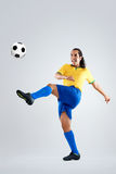 Soccer player strike Stock Images