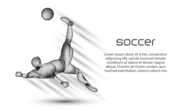Soccer player striker hits the ball with an acrobatic bicycle kick. vector illustration