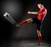 Soccer player strikes Royalty Free Stock Photography