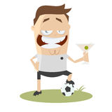 Soccer player is taking a break Stock Photo