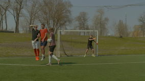 Soccer player taking direct free kick during game stock video footage