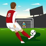 Soccer player taking penalty kick Royalty Free Stock Photos
