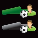 Soccer player on tilted green and gray tabs Royalty Free Stock Photography