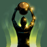 Soccer player and trophy. Soccer player lifting a winner trophy background Stock Image