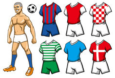 Soccer player with various jersey Royalty Free Stock Photos
