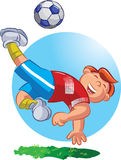 Soccer Player. Vector illustration of a football playing boy kicking the ball Stock Photos