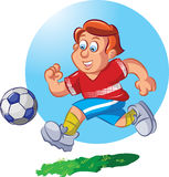 Soccer Player. Vector illustration of a football playing boy kicking the ball Royalty Free Stock Photos