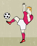 Soccer player vintage poster Royalty Free Stock Image
