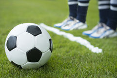 Soccer player wall behind foam line Stock Photography