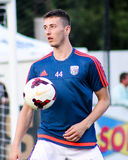 Soccer player warming up before a match Stock Images