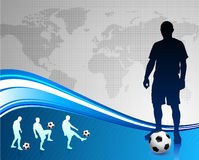 Soccer Player with World Map Background Stock Photography