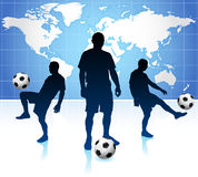 Soccer Player with World Map Background Royalty Free Stock Photo