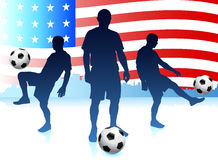 Soccer Player with World Map Background Stock Photo