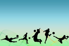 Soccer Players. Silhouettes over blue and green background with lines Stock Image